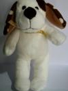 ตุ๊กตาสุนัขสีขาว หูสีน้ำตาล ขนาดความสูง 19 ซม.
