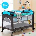 B10123 (A3) เตียงนอนเด็ก เพเพน Playpen Cool baby สีน้ำเงิน พร้อมเบาะวางเปลี่ยนผ้าอ้อม