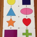 จิ๊กซอว์ 2 ชิ้น ชุดรูปทรงเรขาคณิต ความยากระดับ 1 (ก่อนวัยเรียน 1 ขวบ 6 เดือนขึ้นไป)