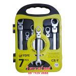 YOFE ประแจปากตายข้าง/แหวนฟรีข้าง 7 ตัวชุด แบบพับได้ CR-V รุ่นประหยัด