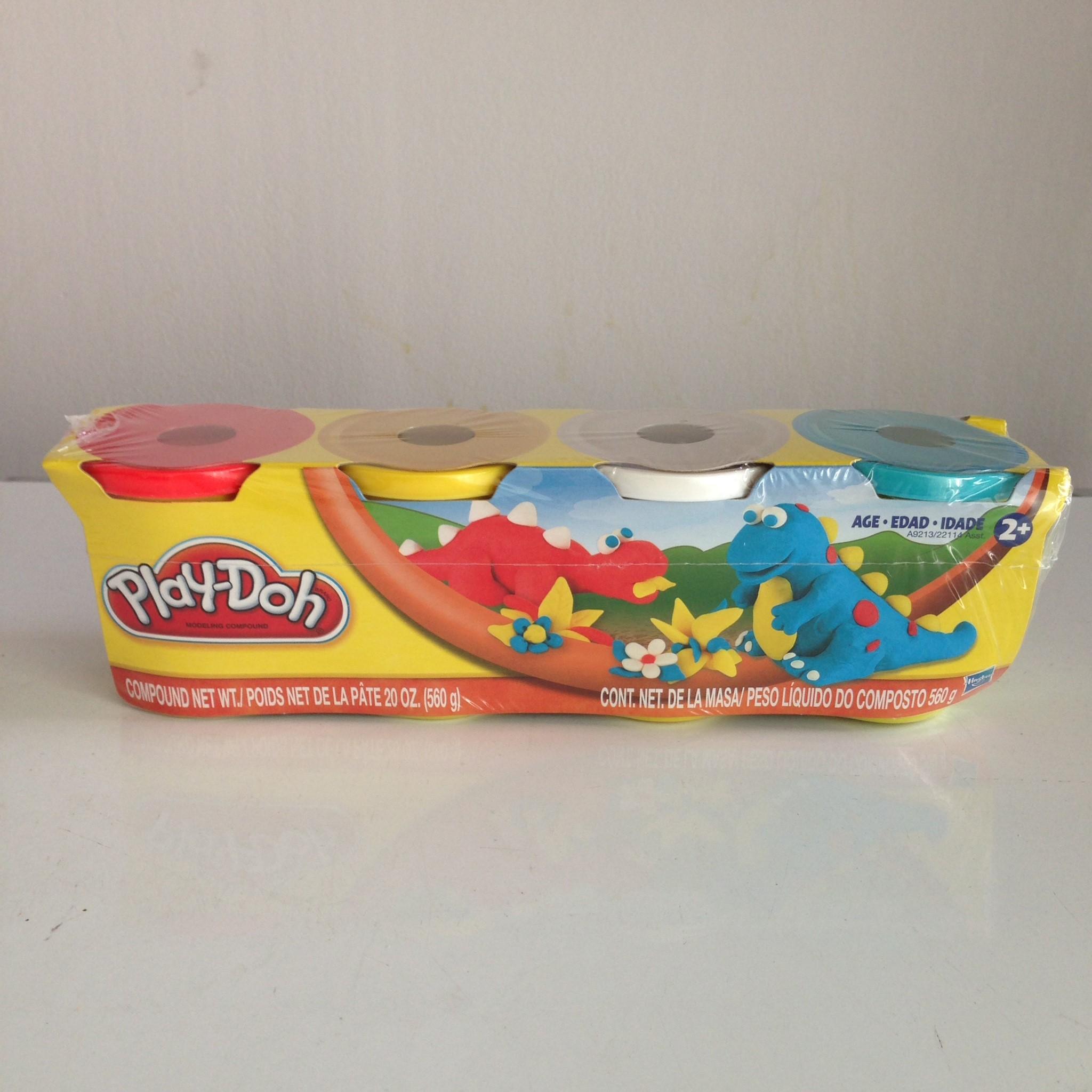 Play Doh แป้งโดว์เซต 4 กระปุก 4 สี (แดง เหลือง ขาว ฟ้า) สำหรับน้องอายุ 2 ขวบขึ้นไป