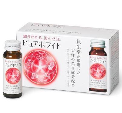 Shiseido PURE WHITE DRINKS (50ml x 10 bottles) อาหารเสริมผิวขาวดุจหิมะสูตรใหม่ ชนิดน้ำดูดซึมเข้าร่างกายได้ทันที ผสมผลโกจิเบอร์รี่และสารสกัดจากเมล็ดลิ้นจี่ช่วยทำให้ผิวขาวละเอียดอย่างรวดเร็วการันตรีความขาวโดยคุณ Mannami Yuka ดาราชั้นนำ
