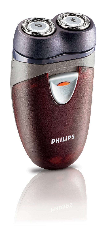 Philips เครื่องโกนหนวดไฟฟ้า ใช้แบตเตอร์รี่ AA 2 ก้อน นาน 60 นาที รุ่น HQ40 (สีแดง)