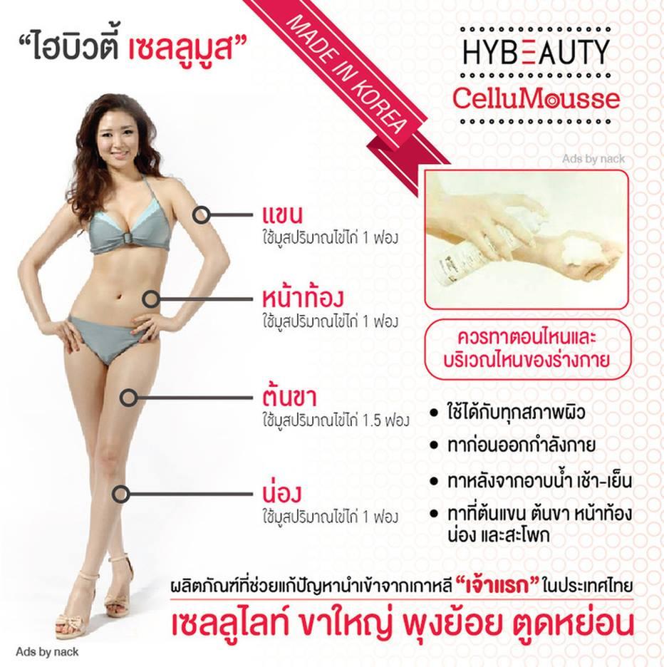 Hybeauty CelluMousse ไฮบิวตี้ เซลลูมูส ปริมาณสุทธิ 150 ml. ผลิตภัณฑ์บำรุงผิวกายผสมสารป้องกันแสงแดด ไฮบิวตี้ เซลลูมูส ออกแบบโดยใช้ Bodyfit ช่วยลดเซลลูไลท์ และยังช่วยเพิ่มความกระชับผิวให้กับผิวคุณ มูสสูตรเย็นกระชับสัดส่วน สลายเซลลูไลท์ ให้คุณมั่นใจกับหุ่นฟิ