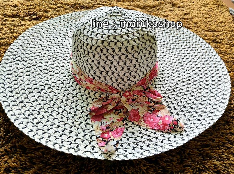 หมวกเที่ยวทะเล หมวกปีกกว้าง แต่งโบว์ลายเก๋ๆ รอบศรีษะ 58 cm