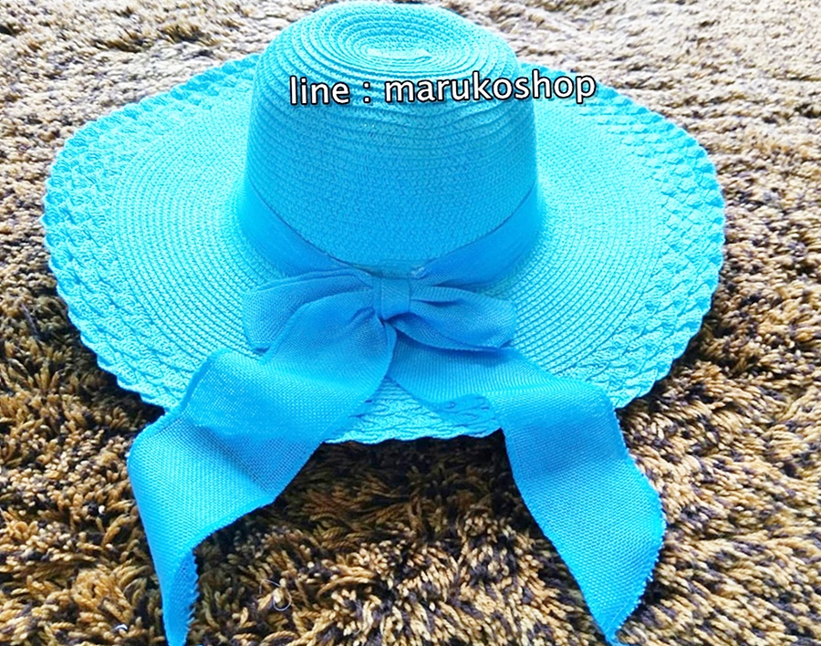 หมวกปีกกว้าง หมวกเที่ยวทะเล หมวกปีกว้างสีฟ้า แต่งโบว์ใหญ่