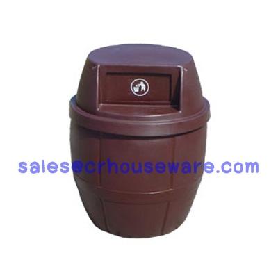 ถังขยะเนื้อโพลีเอทธิลีน ทรงถังเบียร์ ความจุ 120 ลิตร 001-TC120B Trash polyethylene Shaped like a beer keg. 120 liter. 001-TC120B