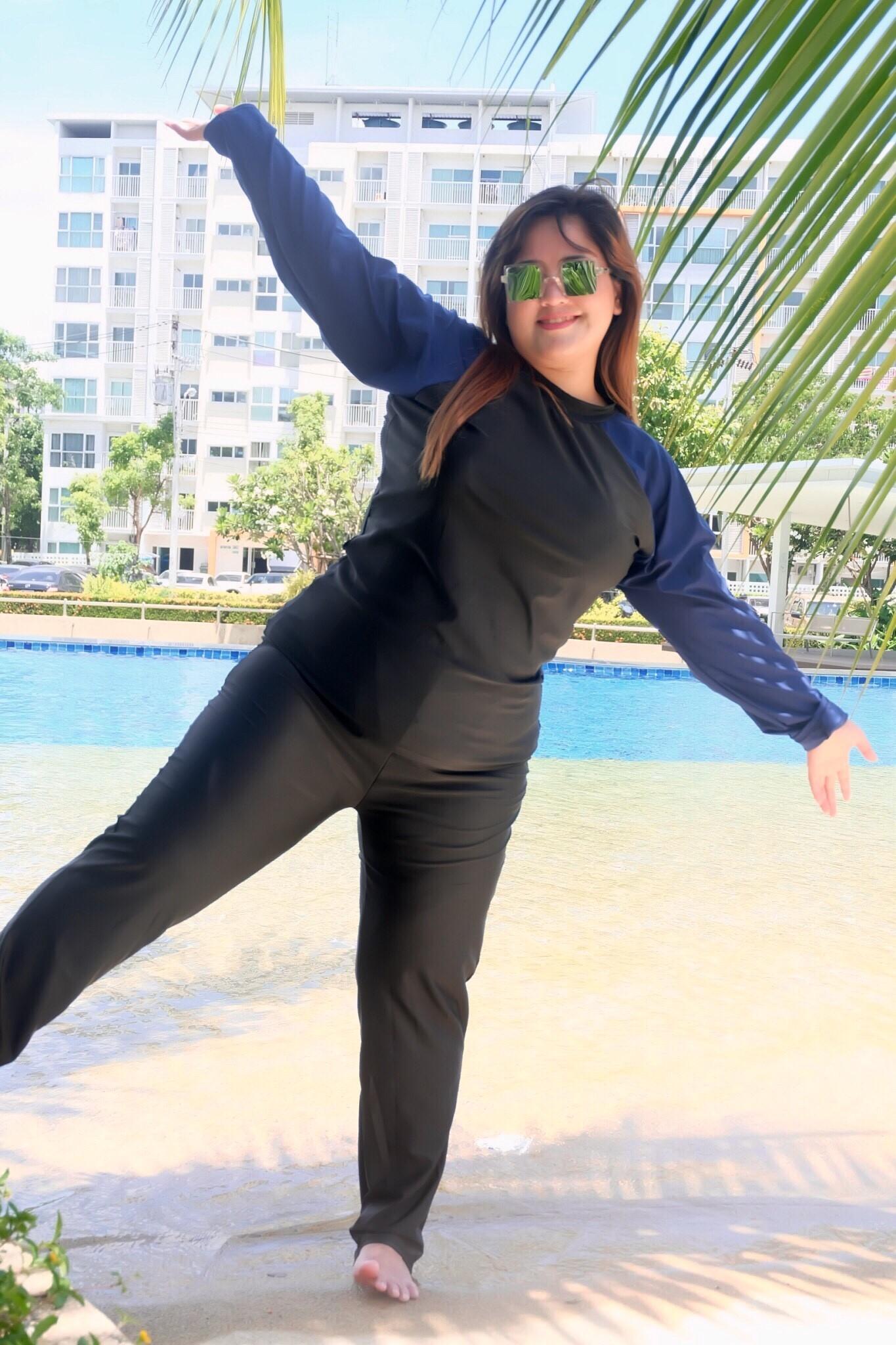 ชุดว่ายน้ำคนอ้วนสีกรม 7xl และ 8xl กัน uv แขนยาว+ขายาว คลิ๊กดูขนาดและ เลือขนาด ใส่ในช่องหมายเหตุเลยนะคะ