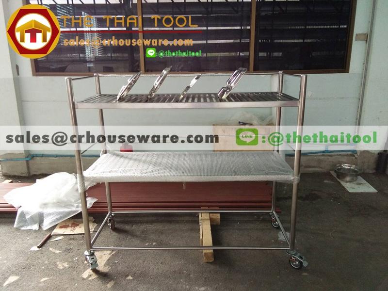 ชั้นวางถาดหลุมสแตนเลส 2 ชั้น 002-RS-002 ชั้นเสียบถาดหลุมโรงเรียนตรงมาตราฐานสาธรสุขเมืองไทย,Stainless slatted Shelves for food tray