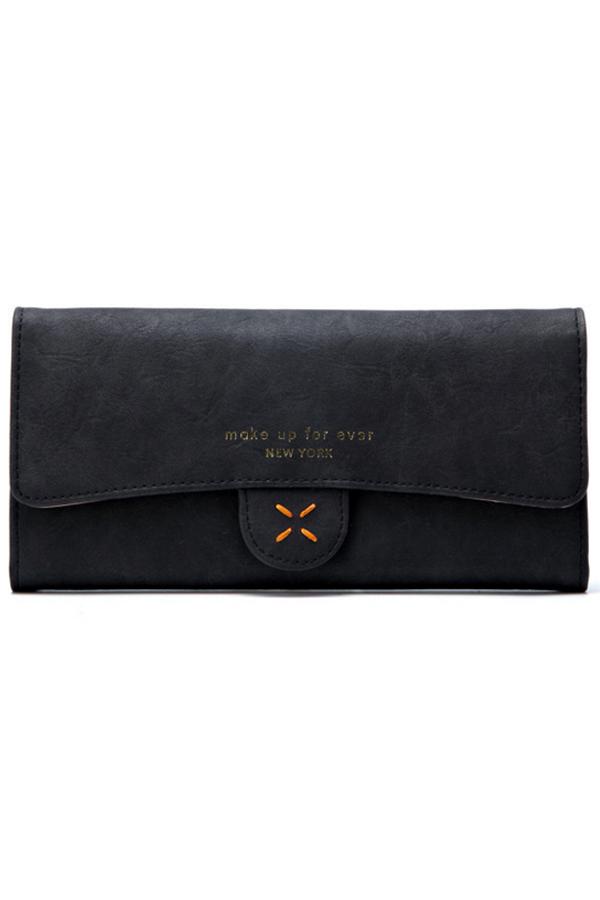 กระเป๋าสตางค์ผู้หญิง ทรงยาว 4Thread Black สีดำ