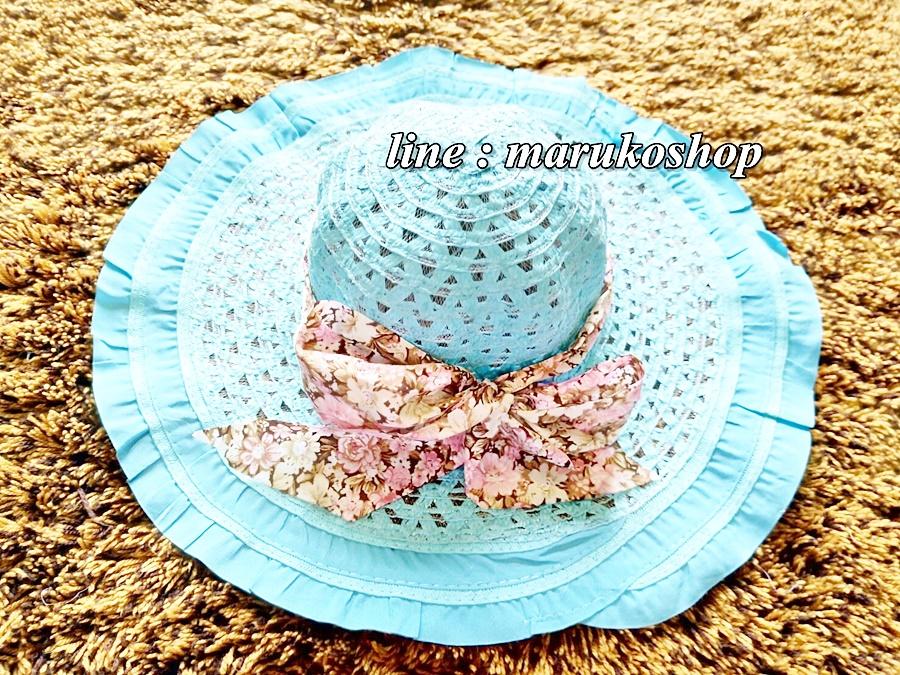 หมวกปีกกว้าง หมวกเที่ยวทะเล หมวกสานโทนสีฟ้าสวยๆคะ แต่งโบว์ลายดอกไม้วินเทจรอบเก๋ ๆ