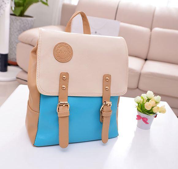 กระเป๋าเป้ กระเป๋าสะพายหลัง สำหรับผู้หญิง หนังนุ่ม สีฟ้า