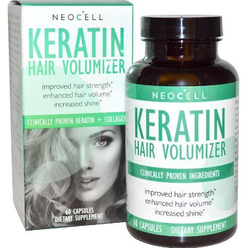 Neocell Keratin Hair Volumizer 60 Capsules อาหารเสริมบำรุงเส้นผมจากอเมริกา เคราตินช่วยลดผมร่วง ช่วยให้ผมหนาขึ้น ผมงอก ผมขาว ให้ผมหนาดกดำ เคราตินยังแก้ปัญหาผมเสีย ผมแห้งแตกปลายจากสารเคมี ให้ผมนุ่ม เรียบลื่นดูหนา แลดูเงางามเปล่งประกาย