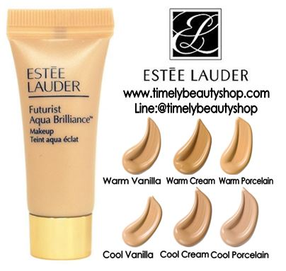 Estee Lauder Futurist Aqua Brilliance Makeup SPF 15 PA++ ขนาดทดลอง 5ml. #2W0 Warm Vanilla รองพื้นสูตรพิเศษ เพื่อผิวเอเชียโดยเฉพาะ เพื่อผิวที่สวย อย่างเป็นธรรมชาติ เนื้อ Liquid เบาสบายแบบ Fluid ผิวสวย เปล่งปลั่ง กระจ่างใส