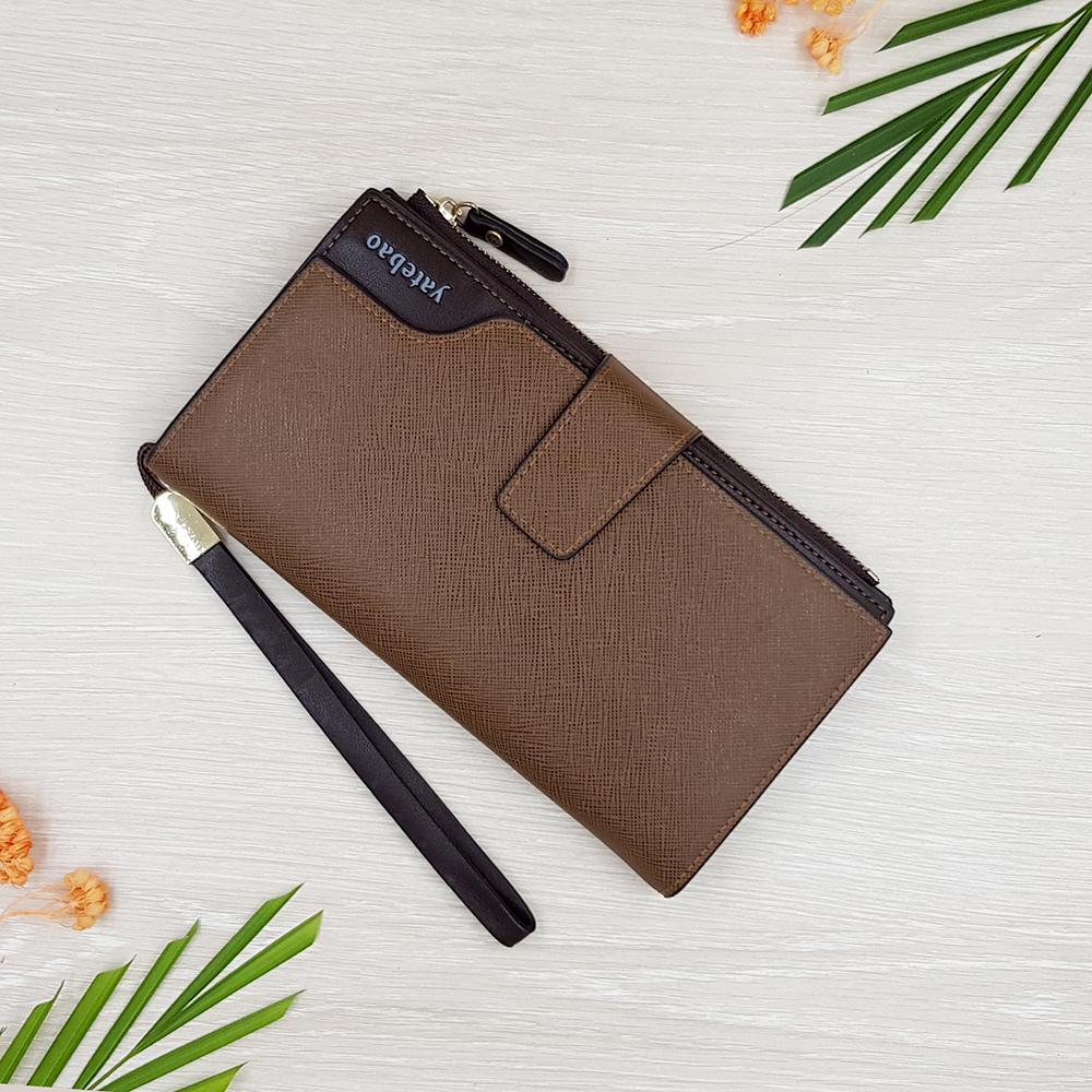 กระเป๋าสตางค์ผู้ชาย กระเป๋าสตางค์หนัง YATEBAO ทรงยาว สีน้ำตาล