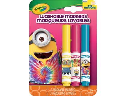 Crayola SWINGIN' SIXTIES MINION Washable Markers สีเมจิกล้างออกได้ 3 แท่ง ปลอดสารพิษ