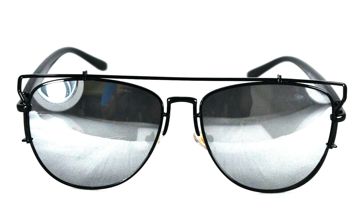 แว่นกันแดด ทรงดีออ งานเกาหลี กรอบดำ เลนเงิน