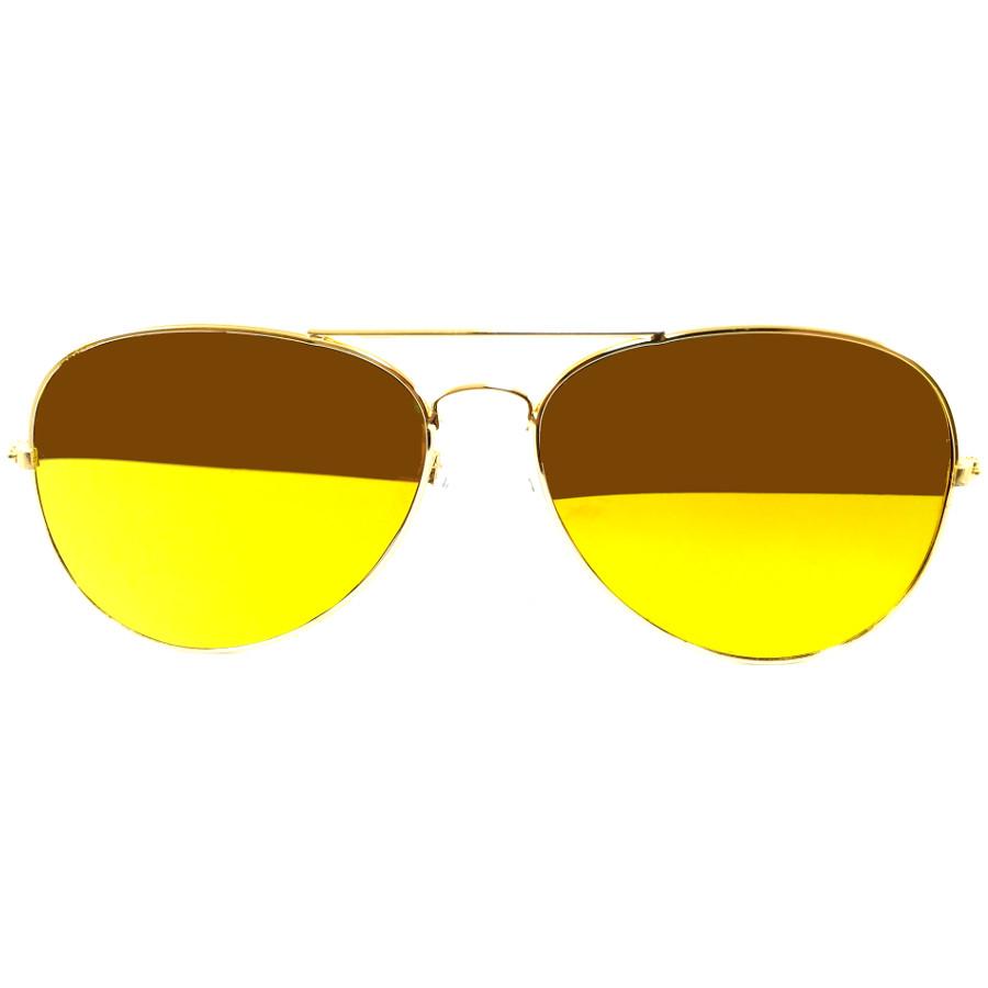 แว่นกันแดด กรอบทอง เลนส์ทอง Aviator Style - 14,6