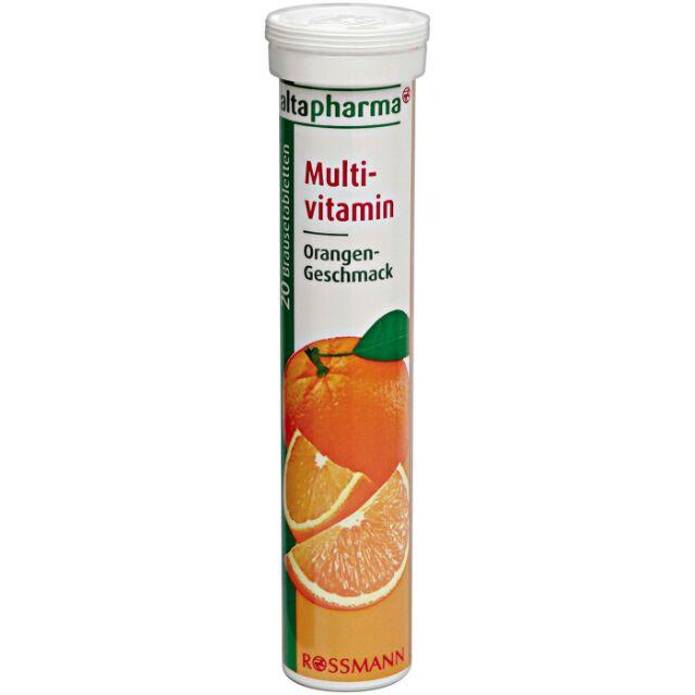"Altapharma Multivitamin ""วิตามินรวม"" เม็ดฟู่ละลายน้ำ (20เม็ด) รสส้ม เติมพลังงานให้ร่างกาย ช่วยบำรุงระบบประสาทและสมอง แนะนำเลยสำหรับผู้ที่นอนดึก พักผ่อนน้อย มีภาวะโลหิตจาง หลอดนี้ประกอบไปด้วย วิตามินบีรวมต่างๆ ที่ช่วยเพิ่มพลังงานให้ร่างกาย ช่วยบำ"