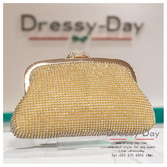 กระเป๋าออกงาน TE006: กระเป๋าออกงานพร้อมส่ง สีทอง ที่เปิดลายหอย เพชรทั้งใบสวยหรูมากค่ะ ราคาถูกกว่าห้าง ถือออกงาน หรือ สะพายออกงาน น่ารักที่สุด