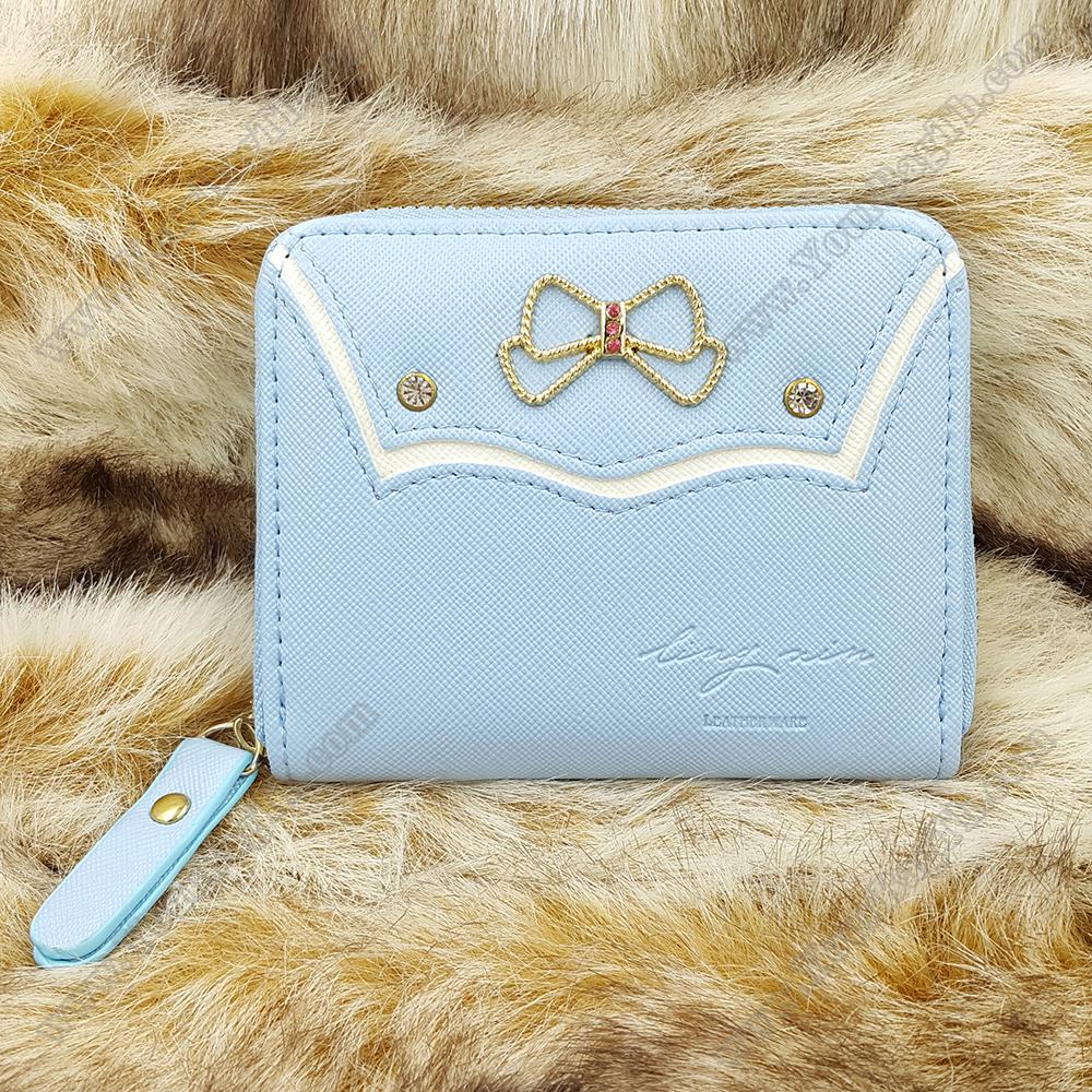 กระเป๋าสตางค์ผู้หญิงทรงสั้นซิป สีฟ้า