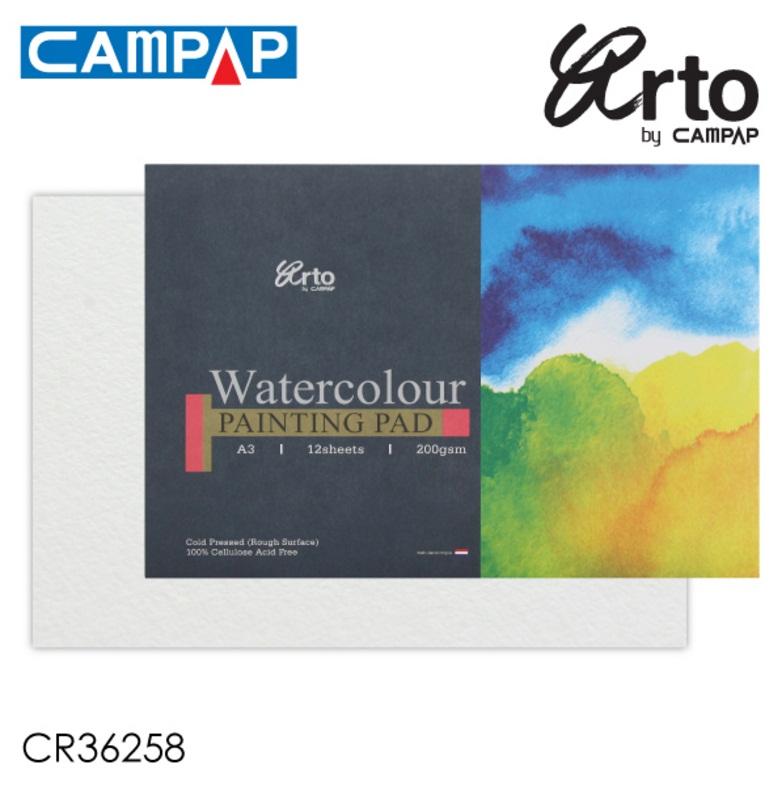 สมุดสีน้ำCampap A3มาตรฐาน 200g 12sht กึ่งหยาบ (Campap Watercolour Pad A3 200g 12sht Coldpress)