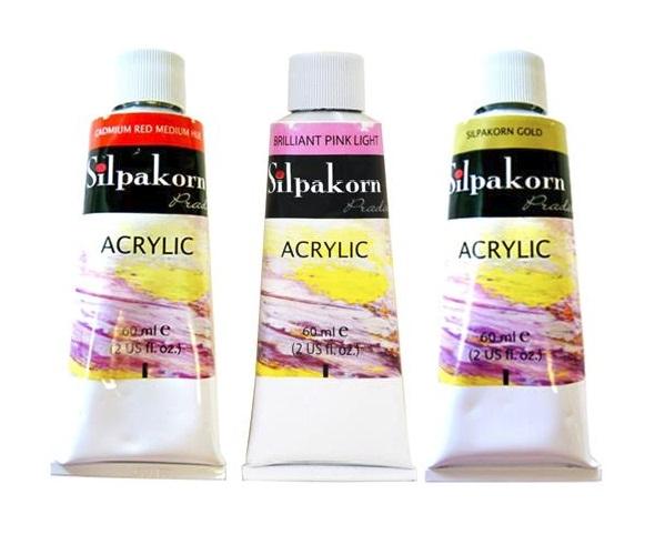 สีอะคริลิคศิลปากรประดิษฐ์ 60ml (Silpakorn Pradit Acrylic Colour 60ml)