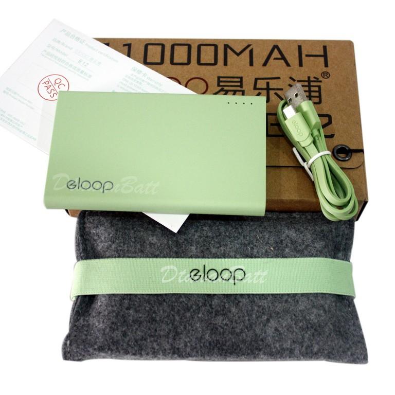 พาวเวอร์แบงค์ Eloop E12,แบตสำรอง Eloop E12,powerbank 11000mah (สีเขียว) ของแท้ 100%