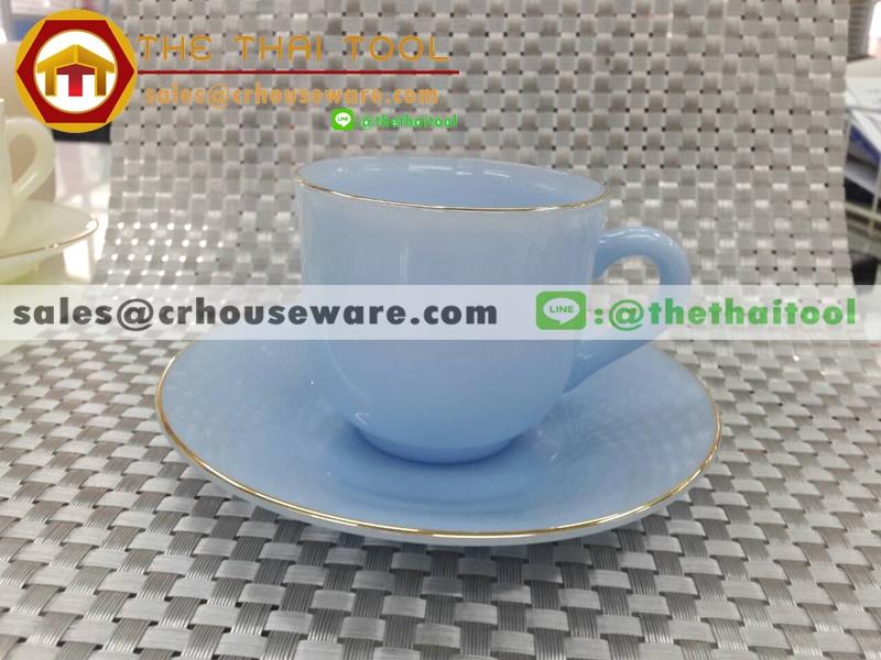 ถ้วยกาแฟเนื้อมุกพร้อมจานรอง 025-LD60-C๋F สีดอกไม้ฟอเก็ทมีน็อท FORGET ME NOT