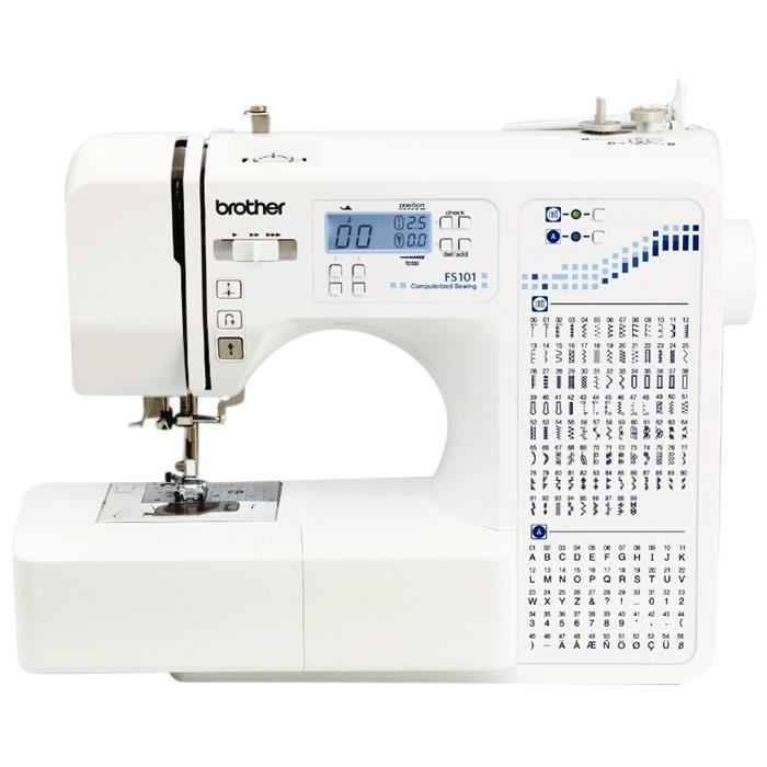 BROTHER จักรเย็บผ้าคอมพิวเตอร์ มีไฟ LED หน้าจอ LCD ขาวดำ รุ่น FS-101 สีขาว