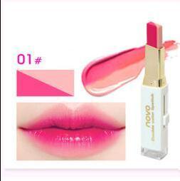 NOVO Double Color Lipstick Moisturizing Gradient Lipstick #01 Sakura ลิปทูโทน เทรนด์ทาปากไล่สีแบบสาวเกาหลี ลิปสติกนวัตกรรมใหม่ที่ดีกว่าด้วย 2 สี และ 2 เนื้อสัมผัส ที่ไม่ใช่แค่จะทาริมฝีปากให้ดูมี มิติเพียงอย่างเดียว แต่ยังสามารถช่วยให้ริมฝีปากหนาและดูบางลง
