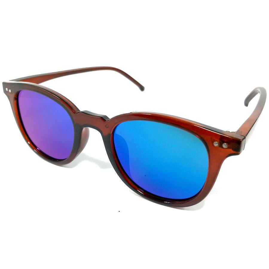 แว่นกันแดดแนวเรโทร สีน้ำตาลเลนส์ปรอทสีน้ำเงิน