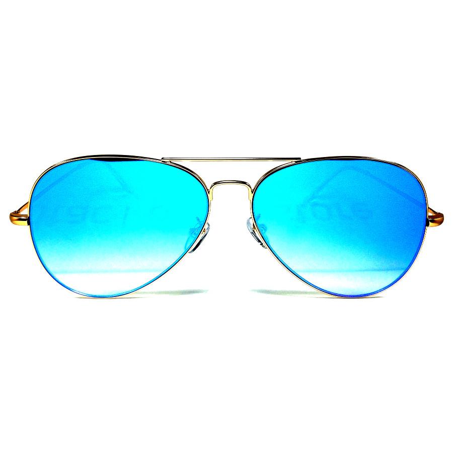 แว่นกันแดดแฟชั่น ดีไซด์เก๋ กรอบสีทอง เลนส์ปรอทฟ้า