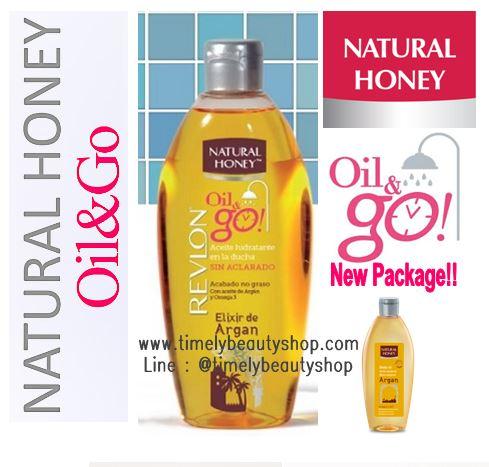 Revlon Natural Honey Oil&Go Argan Oil 300ml. แพคเกจใหม่ล่าสุดของสุดยอดน้ำมันบำรุงผิวที่ได้รับความนิยมสูงสุด ที่เน้นย้ำการใช้ที่ชะโลมหลังอาบน้ำก็ปกป้องและบำรุงผิวได้โดยไม่ต้องใช้โลชั่นอื่นๆอีก คุณสมบัติครบในการบำรุงผิว แถมยังมีกลิ่นหอมอ่อนๆติดผิว ด้วยน้ำมั
