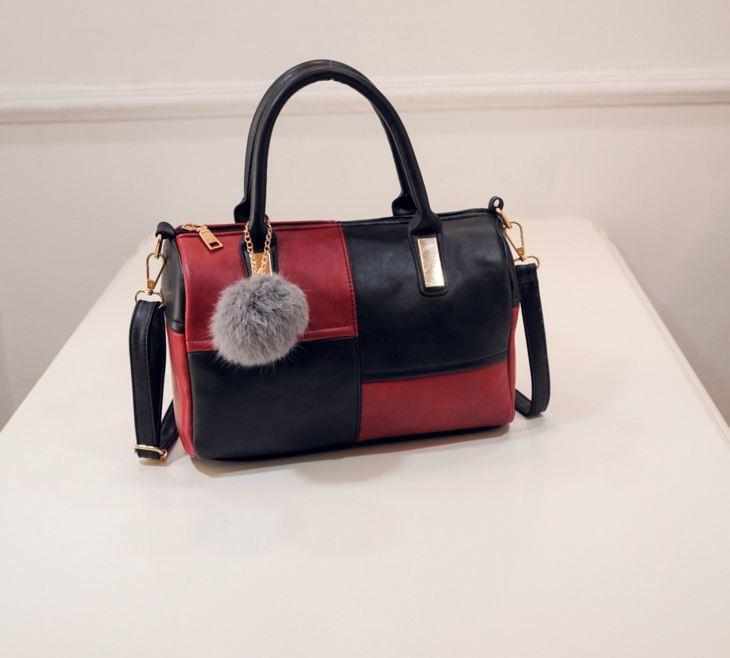 กระเป๋าถือขนาดกลาง กระเป๋าสะพายไหล่ สะพายข้าง Hand Bag Red Black สีแดงดำ