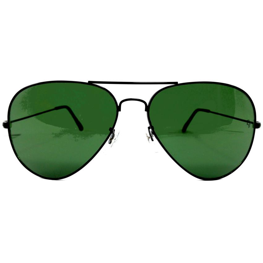 แว่นกันแดด หรู ทรง RB Aviator กรอบดำ เลนส์ดำ ขนาด 14,6