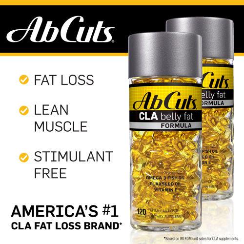 Ab Cuts CLA Belly Fat Formula 120 softgel กระชับสัดส่วนทั้งตัว..สลายเซลลูไลท์ เน้นลดไขมันหน้าท้อง ตัวช่วยกำจัดไขมันยอดฮิตจากอเมริกา การันตีด้วยยอดขายอันดับหนึ่ง ทานเยอะก็ไม่ต้องกลัวไขมันสะสมถ้าคุณมีขวดนี้ ช่วยดักจับเผาผลาญไขมัน