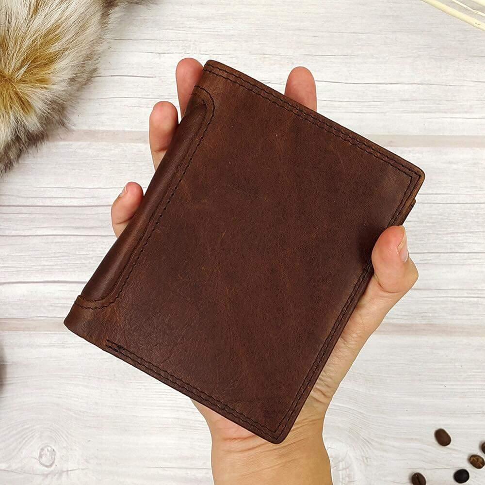 กระเป๋าสตางค์ผู้ชาย หนังแท้ 100% ทรงตั้ง Leather Brown
