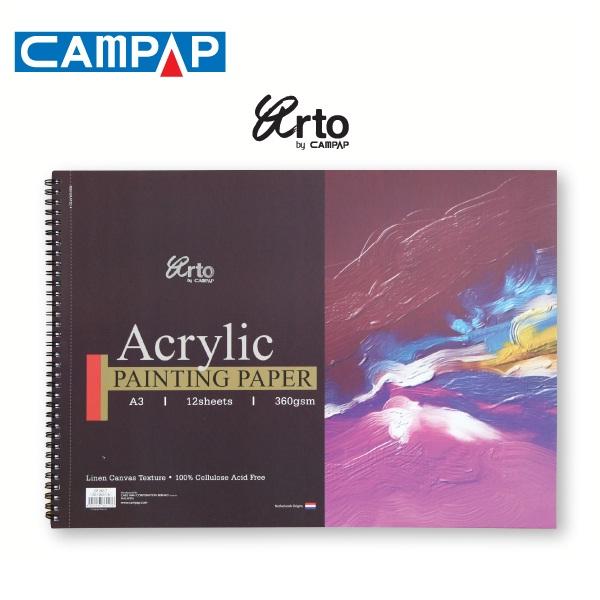 สมุดสันห่วงสีอะคริลิคCAMPAP 360g 12sht (Campap Wire-O Acrylic Painting Book)