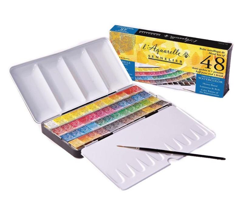 ชุดสีน้ำSennelier 48สี ครึ่งก้อน กล่องโลหะ (Sennelier Artist Watercolor Half Pan Metal Case, Set of 48)