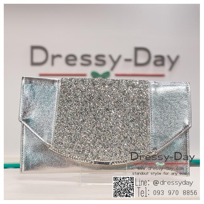 กระเป๋าออกงาน TE024: กระเป๋าออกงาน กระเป๋าคลัชพร้อมส่ง ใบใหญ่ สีเงิน ดีเทลเพชรสวยหรูที่สุด ถือออกงานกลางคืน หรือสะพายออกงานกลางวัน สวยปังสุดๆ ราคาถูกกว่าห้างเยอะ