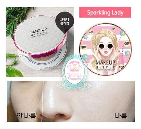 Makeup Helper Double Cushion Green Tea Blossom SPF50+ 24g. # Sparkling Lady แป้งดับเบิ้ลคุชชั่นใหม่!!! ส่งตรงจากเกาหลี สูตรชาเขียว ควบคุมความมัน กระชับรูขุมขน หน้าเนียนกระจ่างใสตลอดวัน ในแพคเกจใหม่ล่าสุด 4 แบบ น่ารักไม่ซ้ำใครคะ