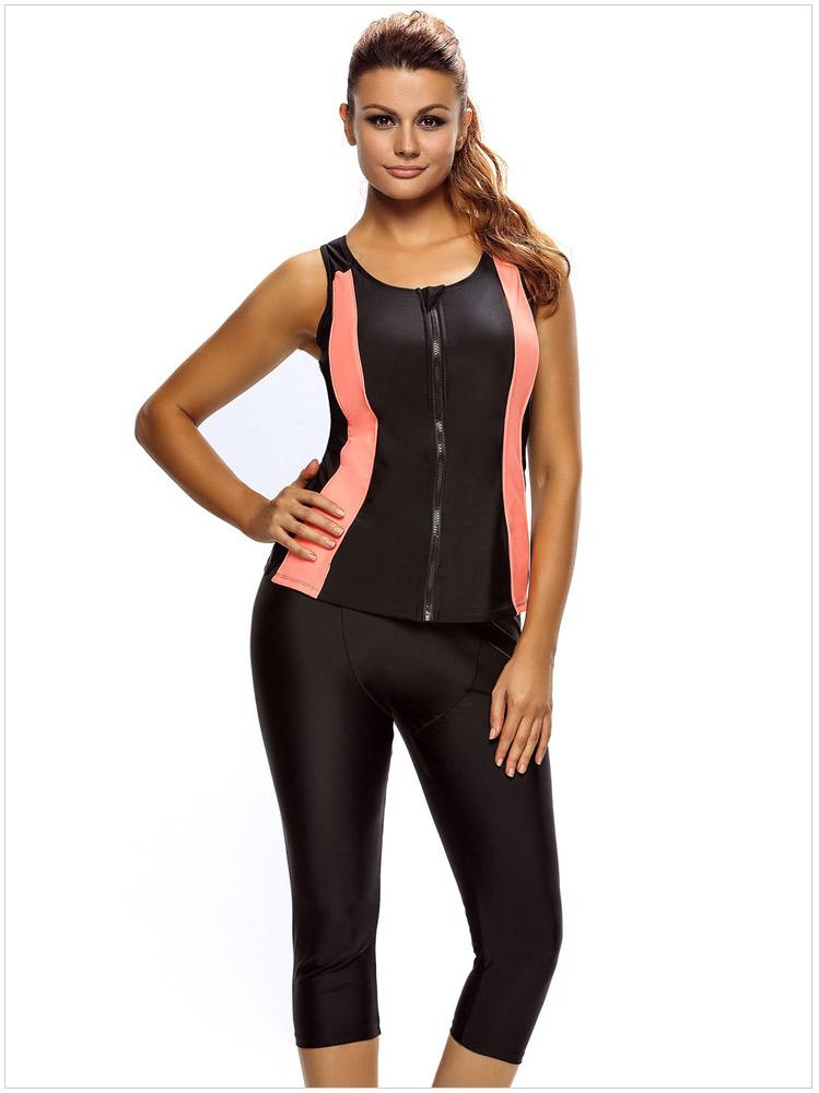 ชุดว่ายน้ำ แนวสปอร์ต ซิปหน้า รอบอก 43-48 รอบเอว 42-48 สะโพก 48-60 นิ้วค่ะ กางเกงยาว 30 นิ้วค่ะ ผ้าดี งานสวยมากค่ะ