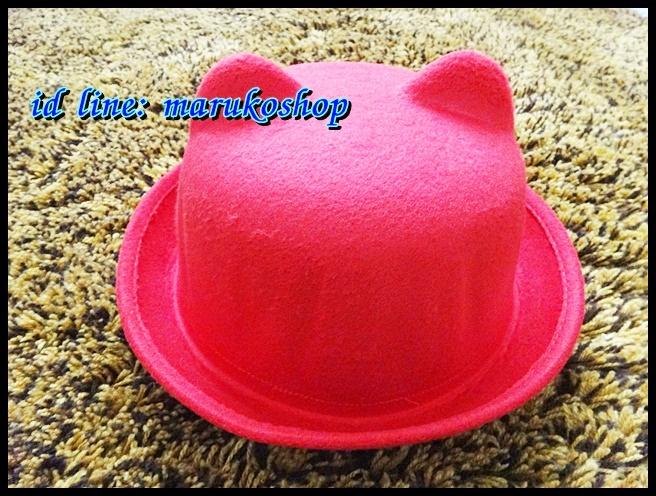 หมวกชาลี หมวกชาลีมีหูสีแดง ผ้าสักหลาด รอบศรีษะ 57 cm ปีกกว้าง 4.5 cm
