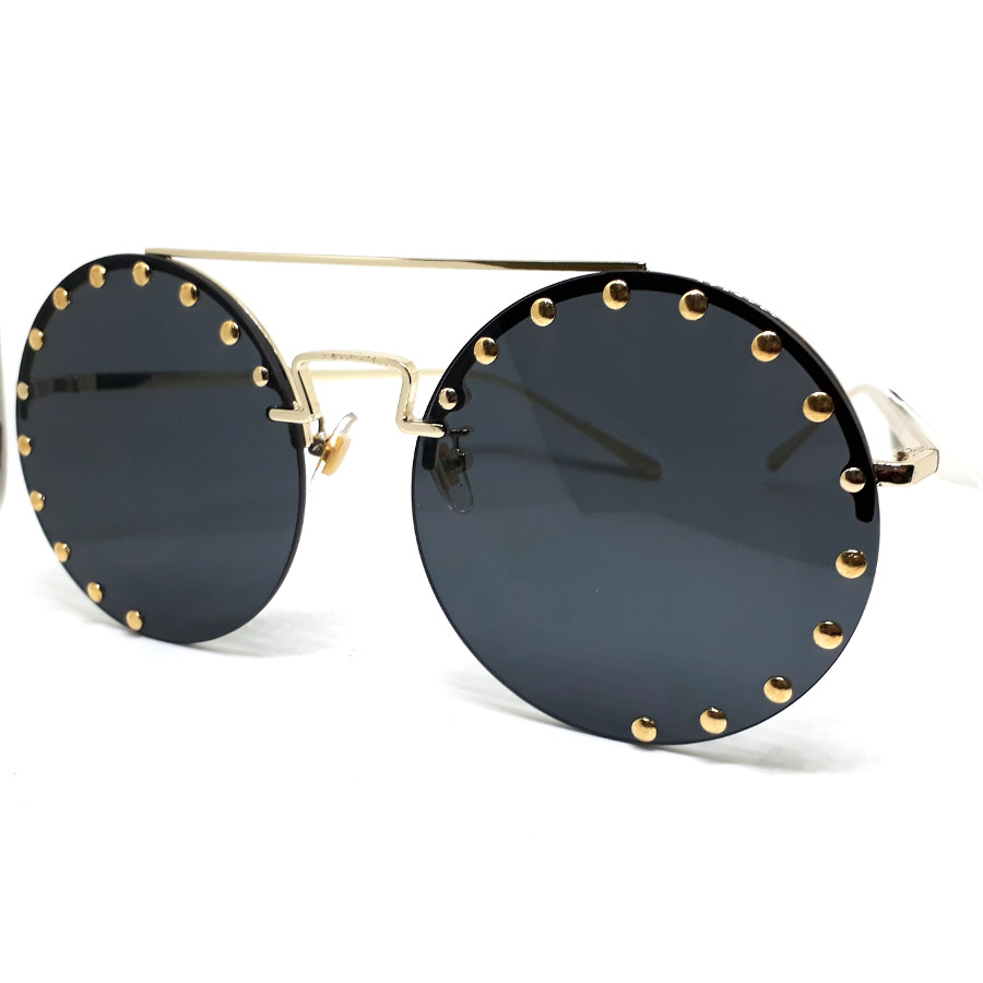 แว่นแฟชั่นทรงกลม ดีไซด์เก๋หรู งานพรีเมี่ยม กรอบสีทอง เลนส์ดำ