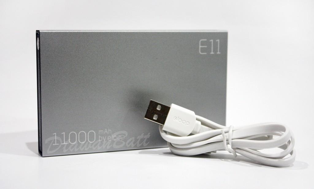 พาวเวอร์แบงค์ Eloop E11,แบตสำรอง Eloop E11,powerbank 11000mah (สีเงิน) ของแท้ 100%