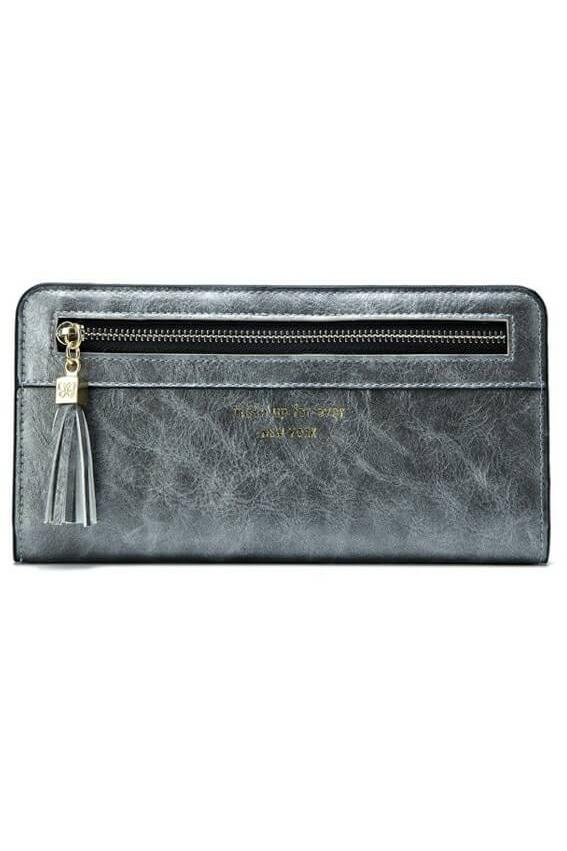 กระเป๋าสตางค์หนังสำหรับผู้หญิง ทรงยาว Metalic Color Grey สีเทา