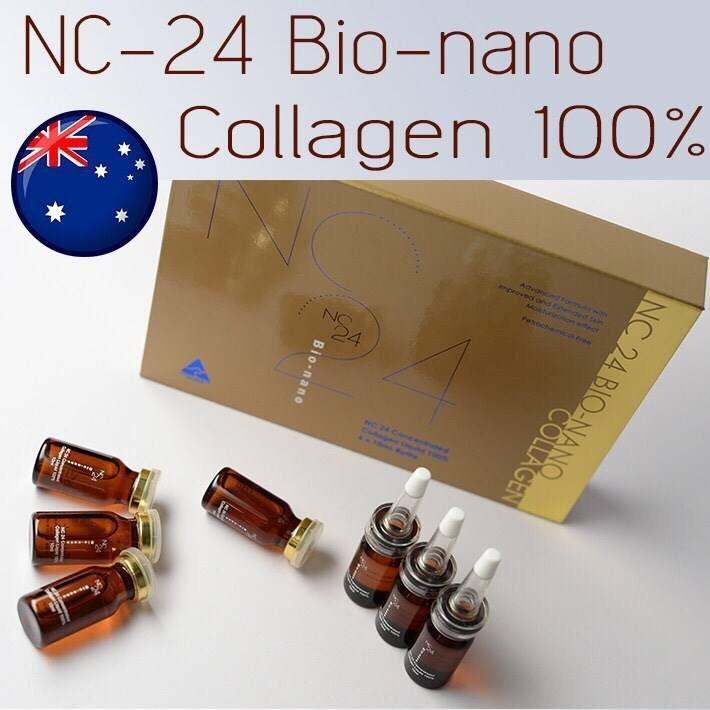 NC24 Bio-nano Collagen Liquid 100% (ยกเซ็ท 10ml. x 6 ขวด) เซรั่มคอลลาเจนบริสุทธิ์เข้มข้น 100% จากออสเตเรีย เหมาะสมสำหรับทุกเพศและทุกวัย ริ้วรอยร่องลึกตื้นขึ้นอย่างเห็นได้ชัด ผิวหน้าเนียนนุ่มเปล่งปลั่งแลดูสุขภาพดีได้ทั้งหญิงและชาย ลดรอยหมองคล้ำ
