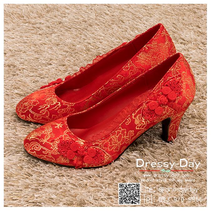 รหัส รองเท้าไปงาน : RR008 รองเท้าเจ้าสาว พร้อมส่ง ตกแต่งกระดุมจีน สีแดง ปักดิ้นทอง สวย สง่า ดูดีแบบเจ้าหญิง ใส่เป็นรองเท้าคู่กับชุดกี่เพ้า ชุดยกน้ำชา ชุดงานหมั้น หรือ ใส่ออกงาน กลางวัน กลางคืน สวยสง่าดูดีมากคะ ราคาถูกกว่าห้างเยอะ
