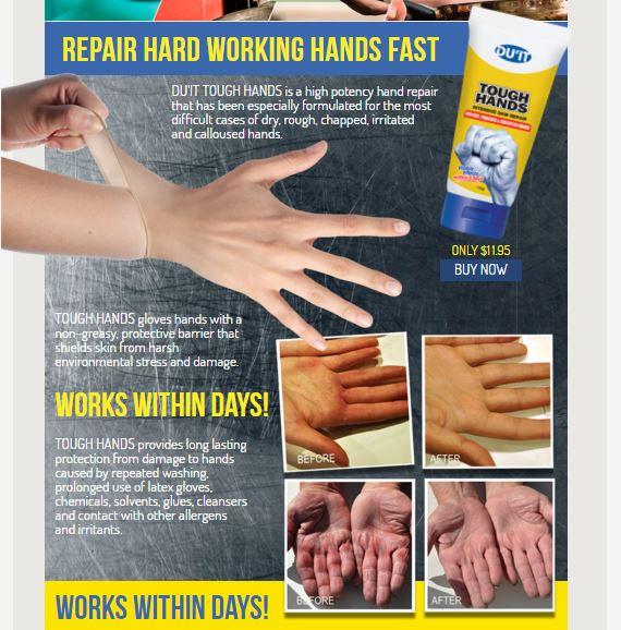 DU'IT Tough Hands Intensive Skin Repair Cream 150ml. นำเข้าจาก Australia ครีมบำรุงผิวมือที่แห้งด้านขาดความชุ่มชื่น อีกหนึ่งผลิตภัณฑ์ที่ขายดีของแบรนด์นี้คะ แค่ทาวันละ2-3 ครั้งต่อวัน เพียง 5 วัน ผิวมือก็จะเนียนนุ่มชุ่มชื่นขึ้นอย่างเห็นได้ชัด